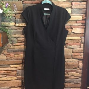 Calvin Klein black V-neck  wrap dress